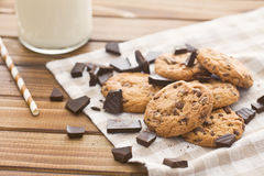 Chocolate cookies on old wooden table Stock Photos