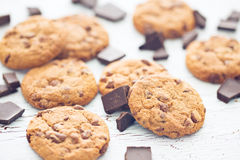 Chocolate cookies on old wooden table Royalty Free Stock Photography