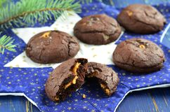 Chocolate cookies with peanut butter royalty free stock photos
