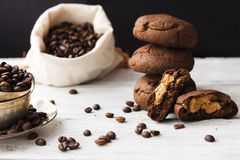 Chocolate cookies with peanut butter. On a dark background Royalty Free Stock Photography