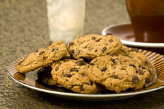 Chocolate cookies on a plate Royalty Free Stock Image