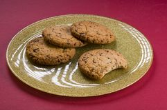 Chocolate cookies on a plate Stock Photos