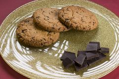 Chocolate  and cookies on a plate Royalty Free Stock Photography