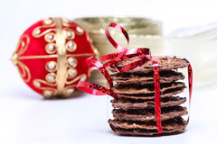 Chocolate cookies with red ribbon Royalty Free Stock Images