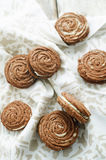 Chocolate cookies sable with cream cheese Royalty Free Stock Photography