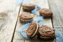 Chocolate cookies sable with cream cheese Stock Photo