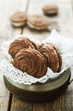 Chocolate cookies sable with cream cheese Stock Photos
