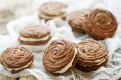 Chocolate cookies sable with cream cheese Royalty Free Stock Image