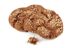 Chocolate Cookies with Sesame Seeds Isolated on White Background Stock Images