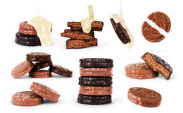 Chocolate cookies set isolated on the white background Stock Photography
