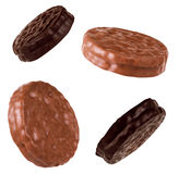 Chocolate cookies set  on the white background Stock Photo