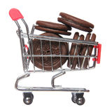 Chocolate cookies in shopping cart isolated. concept. Stock Image