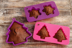 Chocolate cookies in silicone molds Royalty Free Stock Photography