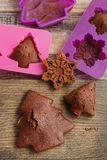 Chocolate cookies in silicone molds Stock Photography