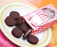 Chocolate Cookies. Some chocolate cookies filled with cream Royalty Free Stock Photos