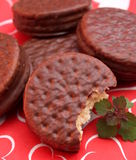 Chocolate cookies. Some homemade chocolate cookies filled with cream royalty free stock images