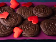 Chocolate cookies for Valentine`s day. Chocolate cookies spelling For you as home made gift for Valentine`s day over blue background Royalty Free Stock Images