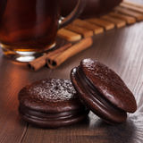 Chocolate cookies on table teatime concept Royalty Free Stock Image