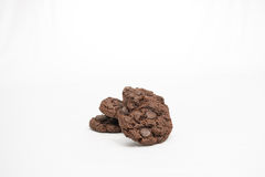 Chocolate Cookies. Tasty double chocolate cookies sit in a stack ready to be eaten Stock Image