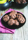 Chocolate cookies with tea royalty free stock photo