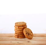 Chocolate Cookies and tea put on Wooden Stock Images