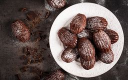chocolate cookies three Σπιτική σοκολάτα Madeleines στο σκοτεινό πίνακα στοκ εικόνα με δικαίωμα ελεύθερης χρήσης