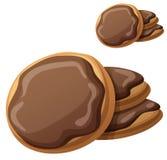 chocolate cookies three η αλλοδαπή γάτα κινούμενων σχεδίων δραπετεύει το διάνυσμα στεγών απεικόνισης Στοκ Εικόνες