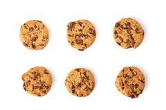 Chocolate cookies top view stock photography