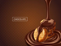 Chocolate on cookies Royalty Free Stock Image