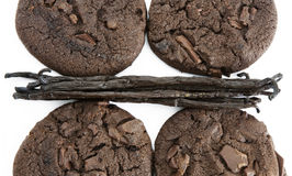 Chocolate cookies with vanilla Royalty Free Stock Images