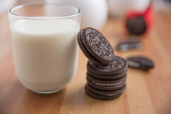 Chocolate Cookies with Vanilla Cream Filling Stock Photos