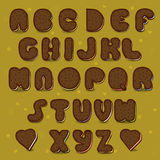 Chocolate Cookies Vector Alphabet. Vintage style Royalty Free Stock Image