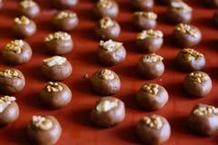 Chocolate cookies with walnut Stock Photos