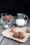 Chocolate cookies with walnuts and milk Stock Photos