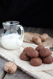 Chocolate cookies with walnuts and milk Royalty Free Stock Photo