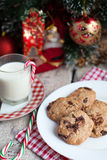 Chocolate cookies with walnuts and milk Stock Image