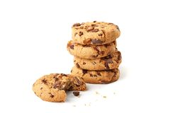 Chocolate cookies on white Royalty Free Stock Image