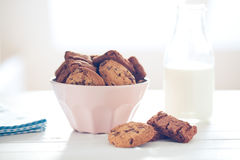 Chocolate cookies on white table Royalty Free Stock Photo