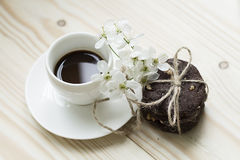 Chocolate Cookies With Coffee And Spring Flowers Royalty Free Stock Images