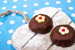 Chocolate heart. Chocolate cookies on wooden heart Royalty Free Stock Image