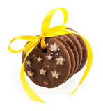 Chocolate Cookies With Yellow Bow Royalty Free Stock Photos