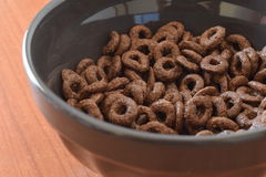 Chocolate Corn Flakes. Breakfast Chocolate Corn Flakes Close Up Stock Photo