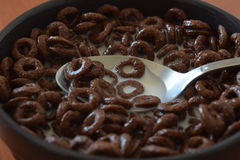 Chocolate Corn Flakes. Breakfast Chocolate Corn Flakes Close Up Stock Image