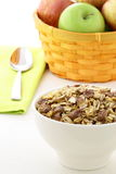 Chocolate cornflakes and almonds muesli breakfast. Stock Photography