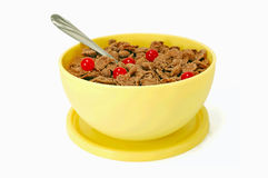 Chocolate cornflakes with berries Royalty Free Stock Photography
