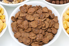 Chocolate cornflakes, breakfast cereals, top view Stock Photography