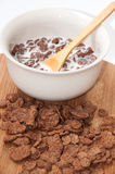 Chocolate cornflakes with milk in the bowl Stock Photo