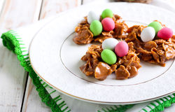 Chocolate and cornflakes nests Royalty Free Stock Images