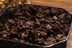 Chocolate Cornflakes XIX. A close up picture of some cornflakes with chocolate Royalty Free Stock Photography
