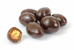Chocolate covered almonds royalty free stock photography